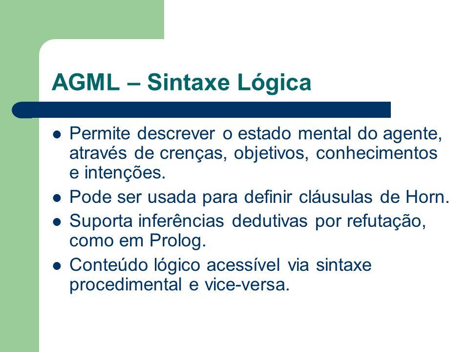 AGML – Sintaxe Lógica Permite descrever o estado mental do agente, através de crenças, objetivos, conhecimentos e intenções.