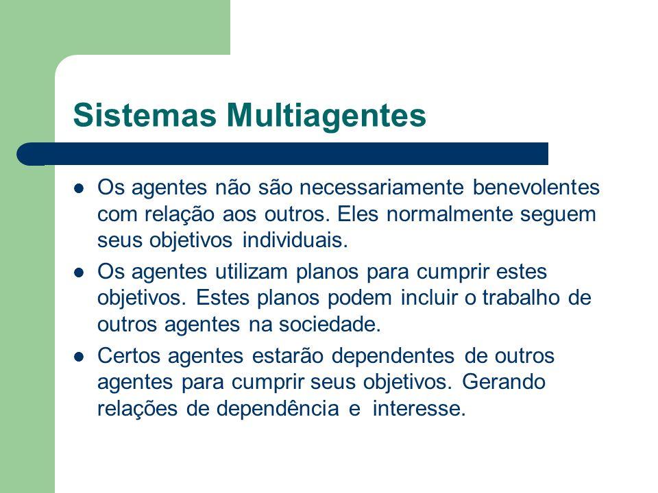 Sistemas Multiagentes Os agentes não são necessariamente benevolentes com relação aos outros.