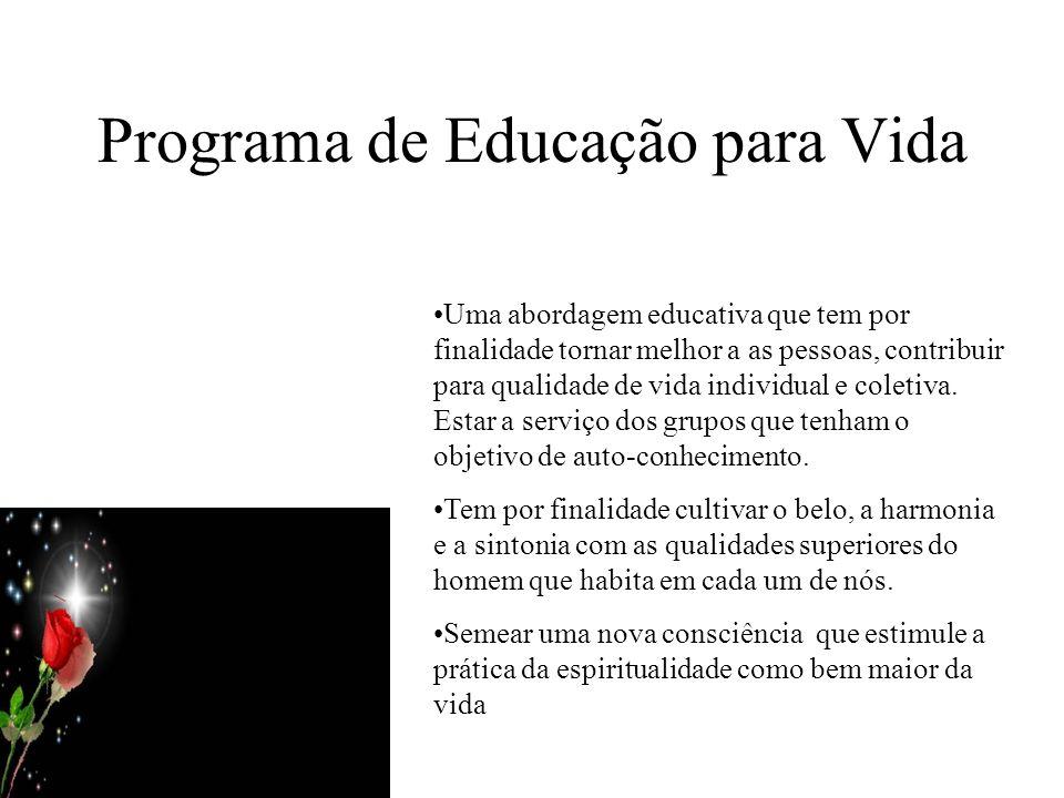 Programa de Educação para Vida Uma abordagem educativa que tem por finalidade tornar melhor a as pessoas, contribuir para qualidade de vida individual