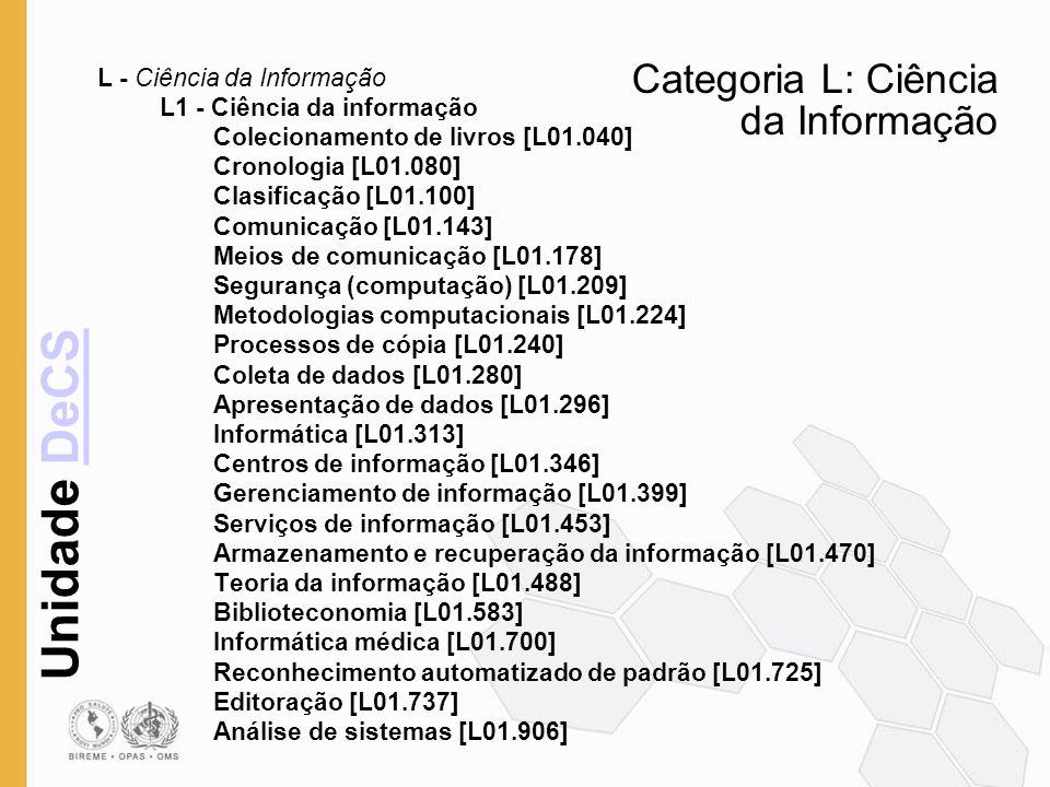 Unidade DeCSDeCS Categoria L: Ciência da Informação L - Ciência da Informação L1 - Ciência da informação Colecionamento de livros [L01.040] Cronologia