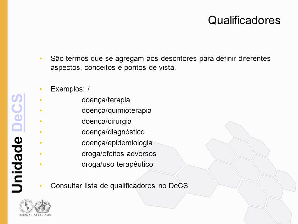 Unidade DeCSDeCS Qualificadores São termos que se agregam aos descritores para definir diferentes aspectos, conceitos e pontos de vista. Exemplos: / d