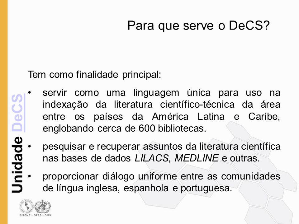 Unidade DeCSDeCS Estrutura do DeCS O vocabulário DeCS está dividido em 19 categorias (áreas) 15 categorias provenientes do MeSH – Medical Subject Headings 4 categorias criadas pela BIREME em conjunto com as instituições pertinentes (Ciência e Saúde, Homeopatia, Saúde Pública e Vigilância Sanitária)