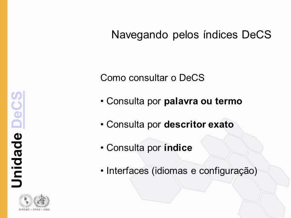 Unidade DeCSDeCS Navegando pelos índices DeCS Como consultar o DeCS Consulta por palavra ou termo Consulta por descritor exato Consulta por índice Int