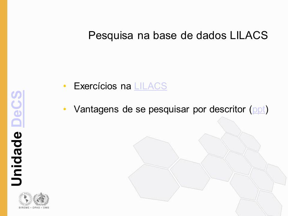 Unidade DeCSDeCS Pesquisa na base de dados LILACS Exercícios na LILACSLILACS Vantagens de se pesquisar por descritor (ppt)ppt