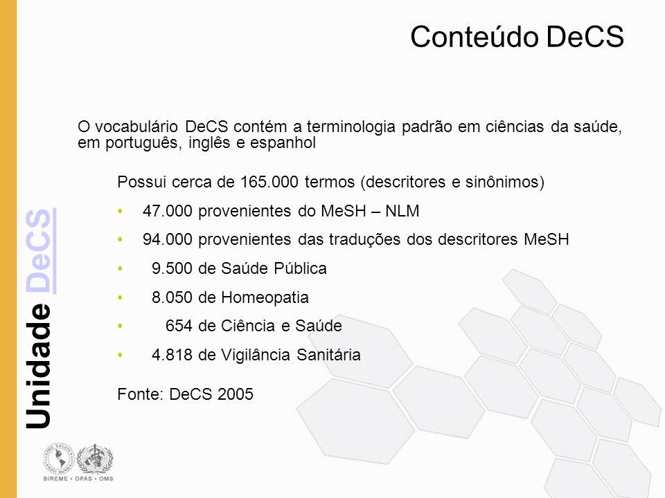 Unidade DeCSDeCS Conteúdo DeCS O vocabulário DeCS contém a terminologia padrão em ciências da saúde, em português, inglês e espanhol Possui cerca de 1