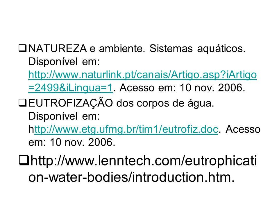 NATUREZA e ambiente.Sistemas aquáticos.