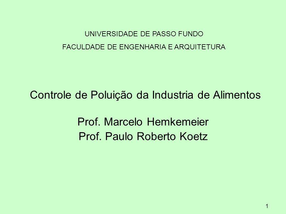 1 Controle de Poluição da Industria de Alimentos Prof. Marcelo Hemkemeier Prof. Paulo Roberto Koetz UNIVERSIDADE DE PASSO FUNDO FACULDADE DE ENGENHARI
