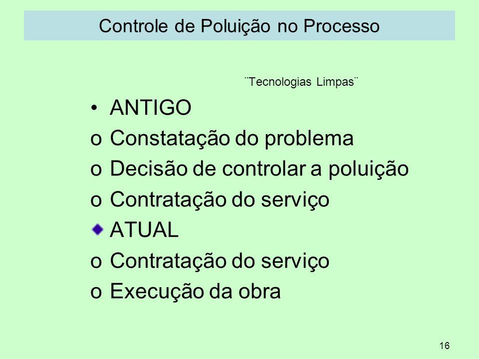 16 Controle de Poluição no Processo ¨Tecnologias Limpas¨ ANTIGO oConstatação do problema oDecisão de controlar a poluição oContratação do serviço ATUA