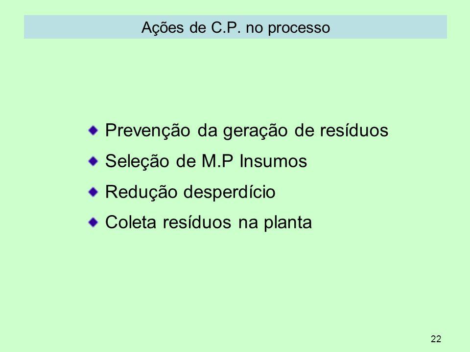 22 Ações de C.P. no processo Prevenção da geração de resíduos Seleção de M.P Insumos Redução desperdício Coleta resíduos na planta