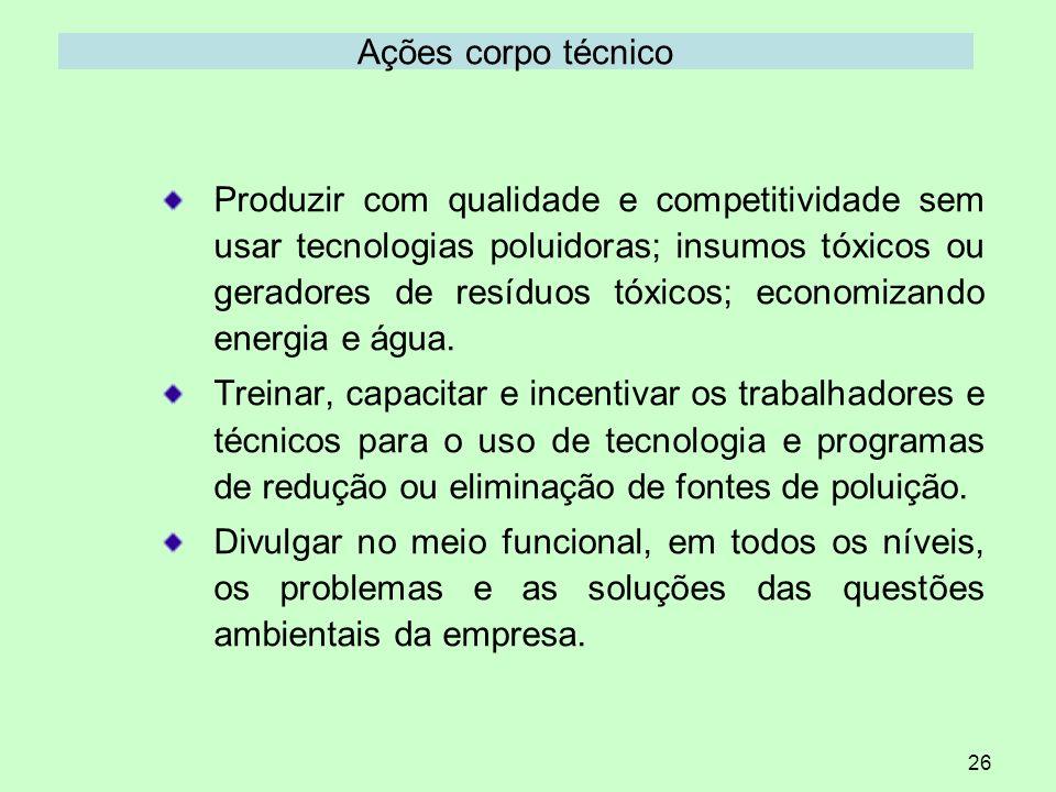 26 Ações corpo técnico Produzir com qualidade e competitividade sem usar tecnologias poluidoras; insumos tóxicos ou geradores de resíduos tóxicos; eco