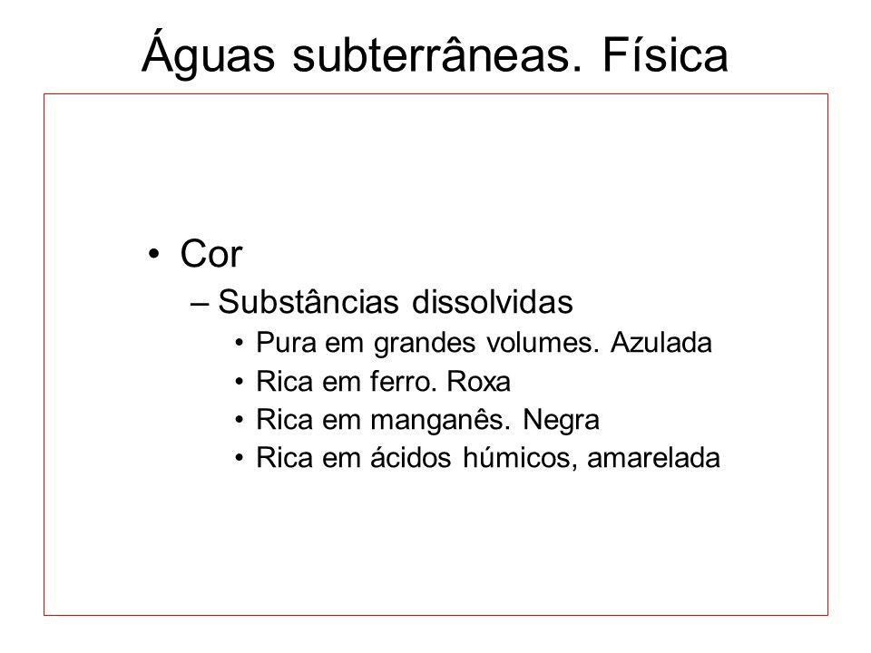 Águas subterrâneas.Física Cor –Substâncias dissolvidas Pura em grandes volumes.