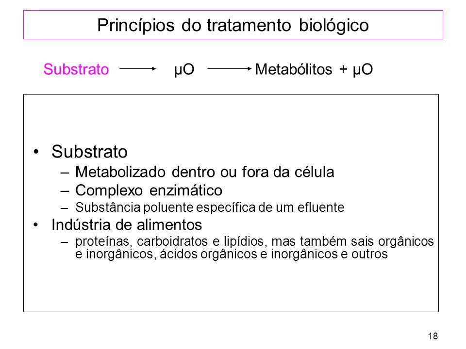 18 Princípios do tratamento biológico Substrato –Metabolizado dentro ou fora da célula –Complexo enzimático –Substância poluente específica de um eflu