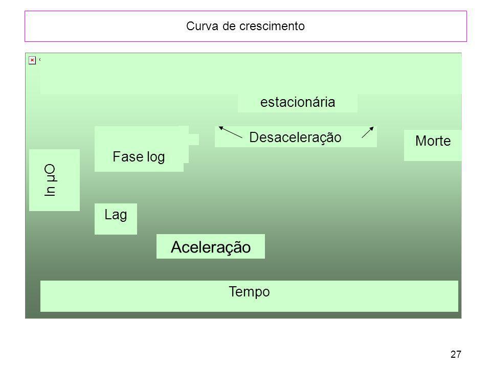 27 Curva de crescimento Aceleração ln µO Lag Fase log Desaceleração estacionária Morte Tempo