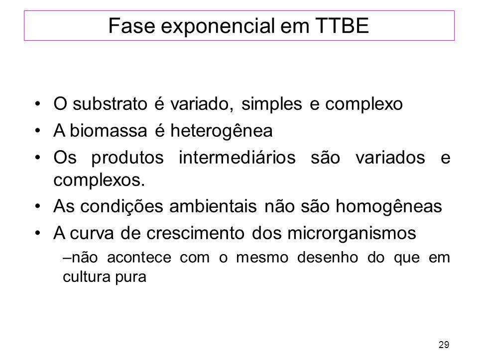 29 Fase exponencial em TTBE O substrato é variado, simples e complexo A biomassa é heterogênea Os produtos intermediários são variados e complexos. As