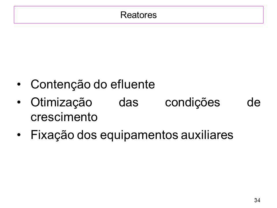 34 Reatores Contenção do efluente Otimização das condições de crescimento Fixação dos equipamentos auxiliares