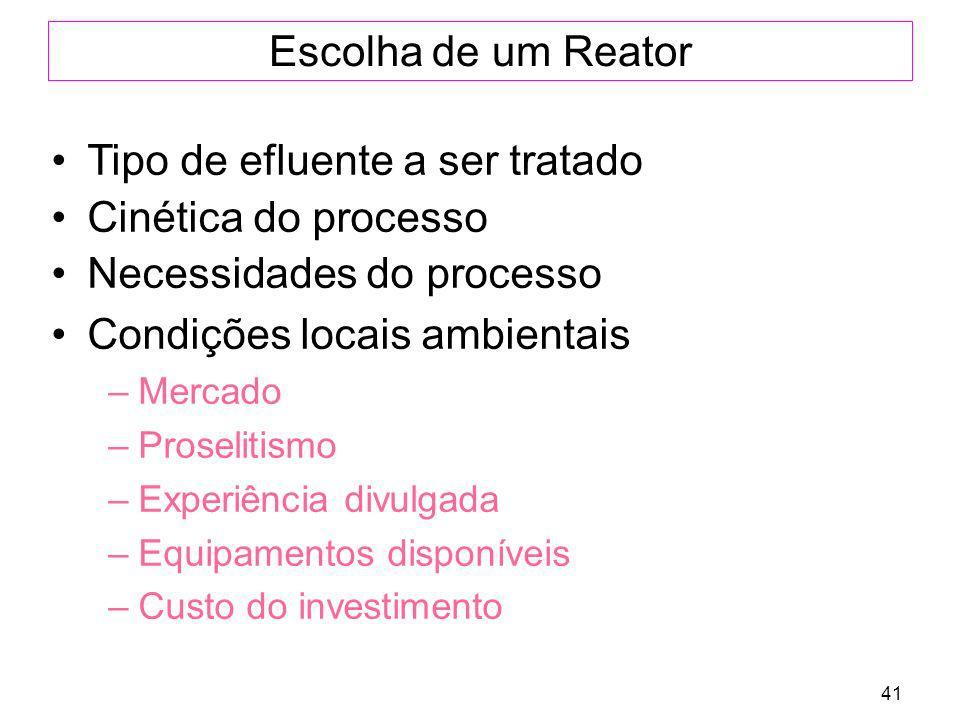 41 Escolha de um Reator Tipo de efluente a ser tratado Cinética do processo Necessidades do processo Condições locais ambientais –Mercado –Proselitism