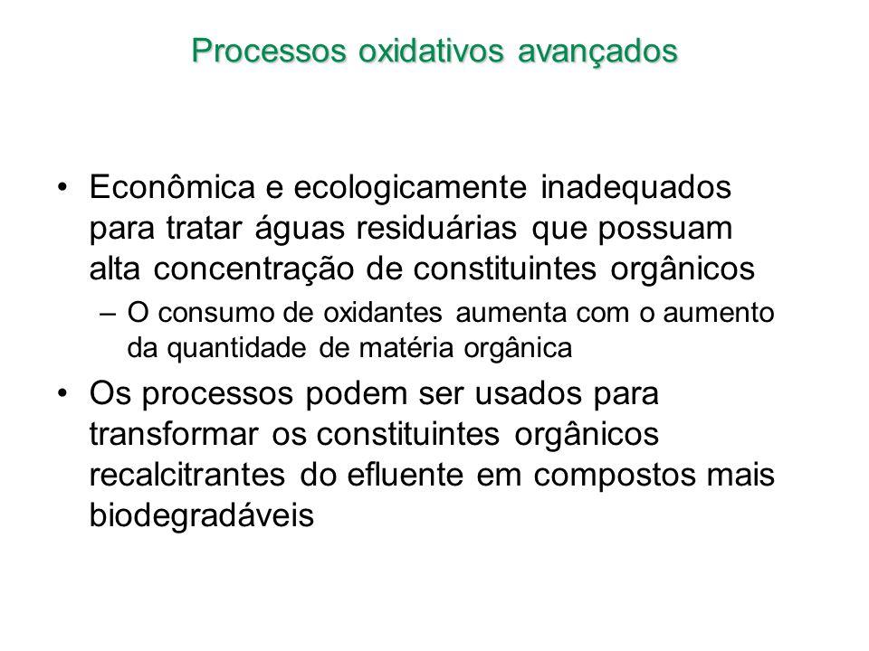 Processos oxidativos avançados Econômica e ecologicamente inadequados para tratar águas residuárias que possuam alta concentração de constituintes org