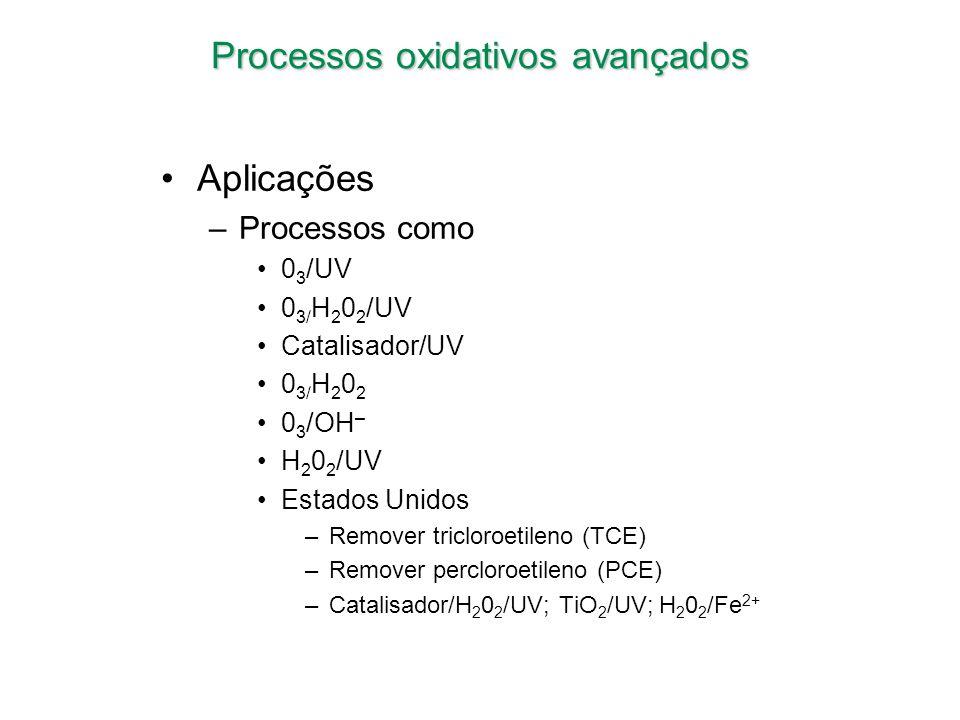 Processos oxidativos avançados Aplicações –Processos como 0 3 /UV 0 3/ H 2 0 2 /UV Catalisador/UV 0 3/ H 2 0 2 0 3 /OH – H 2 0 2 /UV Estados Unidos –R