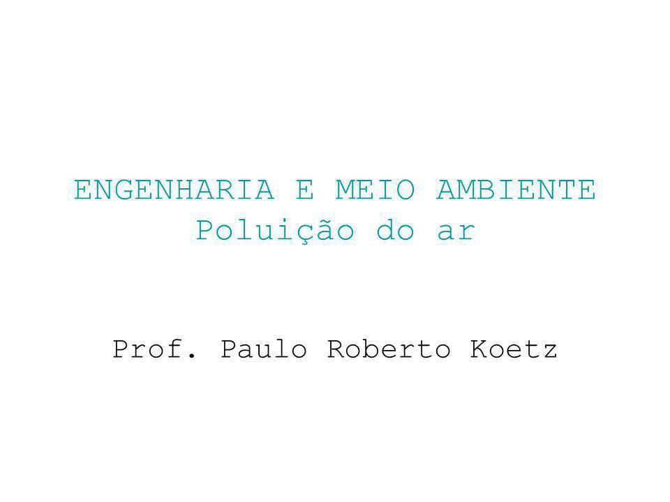 ENGENHARIA E MEIO AMBIENTE Poluição do ar Prof. Paulo Roberto Koetz