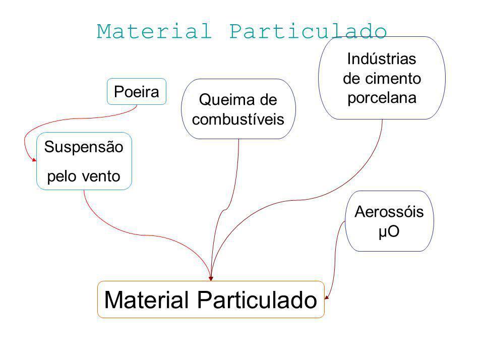Material Particulado Poeira Suspensão pelo vento Material Particulado Indústrias de cimento porcelana Aerossóis μO Queima de combustíveis