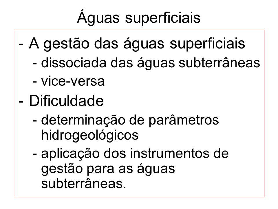 Águas superficiais -A gestão das águas superficiais -dissociada das águas subterrâneas -vice-versa -Dificuldade -determinação de parâmetros hidrogeoló
