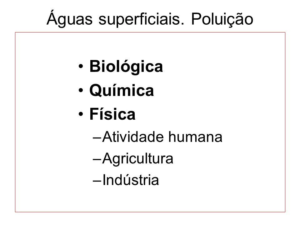 Águas superficiais. Poluição Biológica Química Física –Atividade humana –Agricultura –Indústria