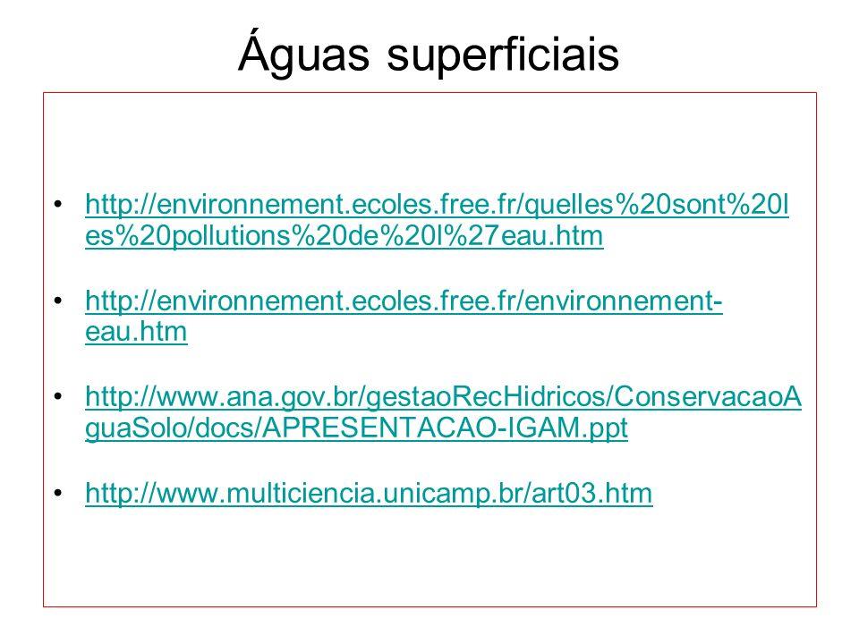 Águas superficiais http://environnement.ecoles.free.fr/quelles%20sont%20l es%20pollutions%20de%20l%27eau.htmhttp://environnement.ecoles.free.fr/quelle