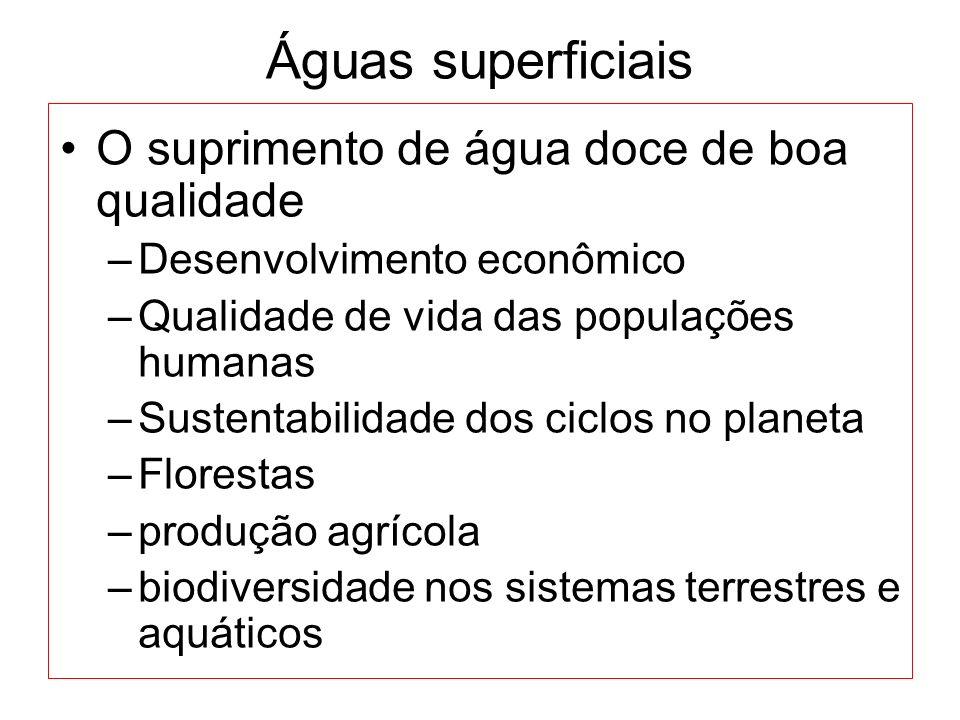 Águas superficiais O suprimento de água doce de boa qualidade –Desenvolvimento econômico –Qualidade de vida das populações humanas –Sustentabilidade d