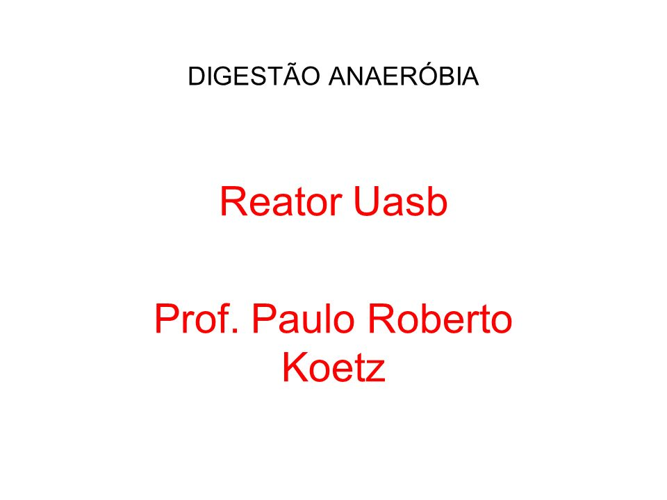 DIGESTÃO ANAERÓBIA Reator Uasb Prof. Paulo Roberto Koetz