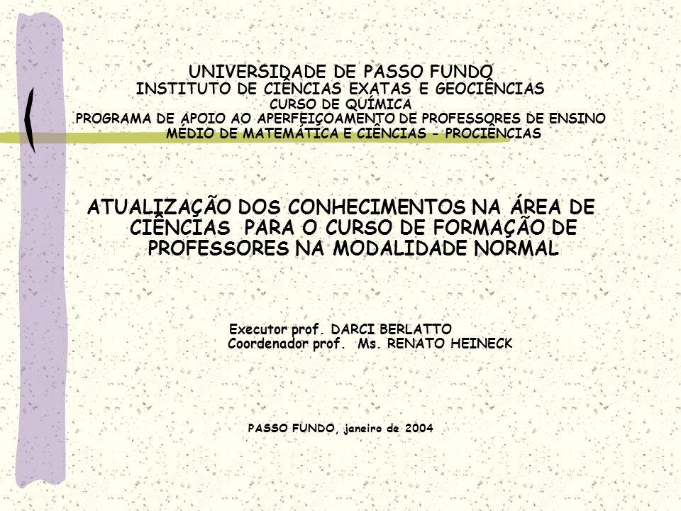 UNIVERSIDADE DE PASSO FUNDO INSTITUTO DE CIÊNCIAS EXATAS E GEOCIÊNCIAS CURSO DE QUÍMICA PROGRAMA DE APOIO AO APERFEIÇOAMENTO DE PROFESSORES DE ENSINO