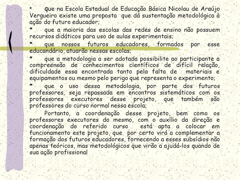 * q ue na Escola Estadual de Educação Básica Nicolau de Araújo Vergueiro existe uma proposta que dá sustentação metodológica à ação do futuro educador