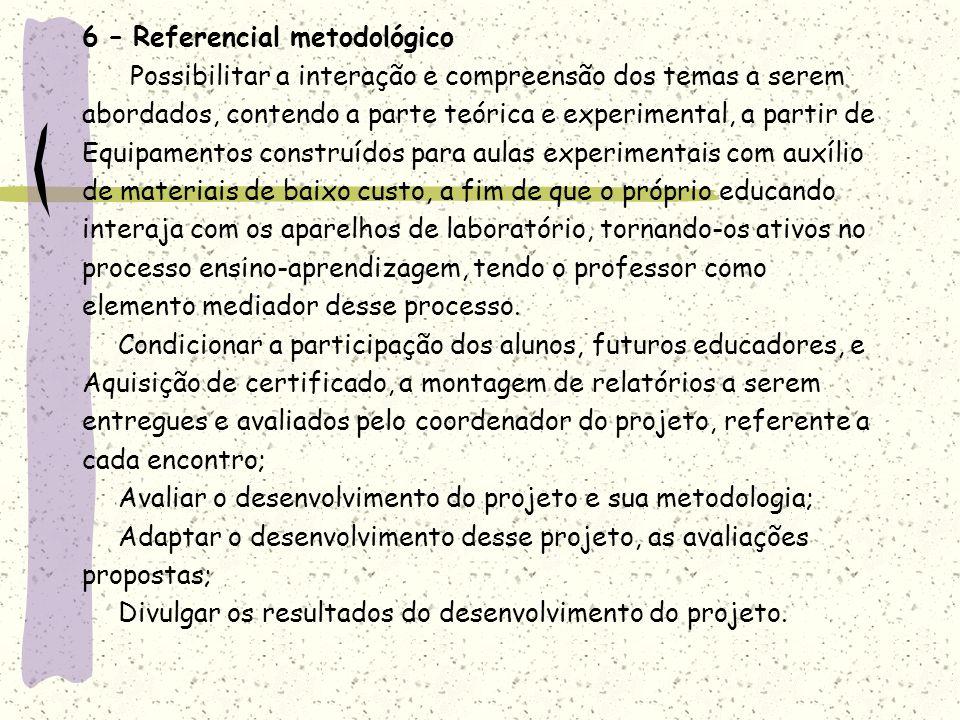6 – Referencial metodológico Possibilitar a interação e compreensão dos temas a serem abordados, contendo a parte teórica e experimental, a partir de