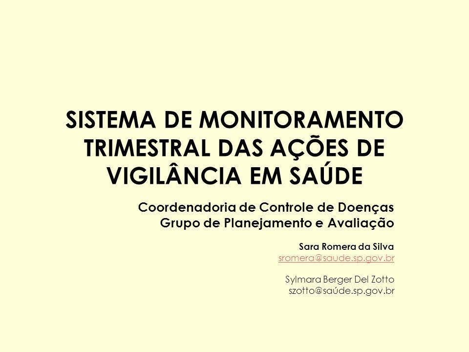 SISTEMA DE MONITORAMENTO TRIMESTRAL DAS AÇÕES DE VIGILÂNCIA EM SAÚDE Coordenadoria de Controle de Doenças Grupo de Planejamento e Avaliação Sara Romer