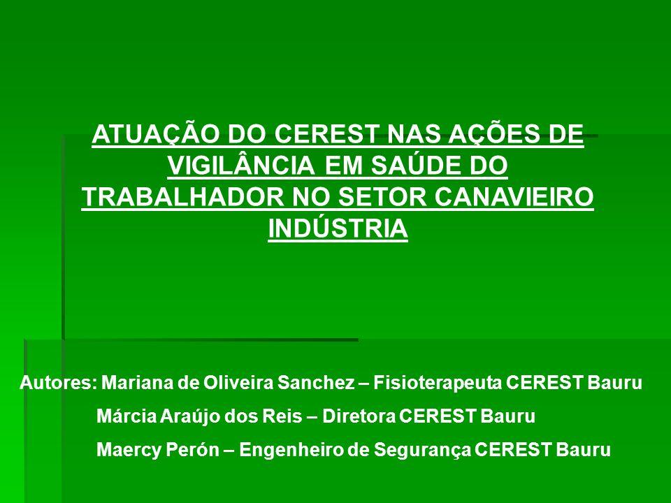 ATUAÇÃO DO CEREST NAS AÇÕES DE VIGILÂNCIA EM SAÚDE DO TRABALHADOR NO SETOR CANAVIEIRO INDÚSTRIA Autores: Mariana de Oliveira Sanchez – Fisioterapeuta
