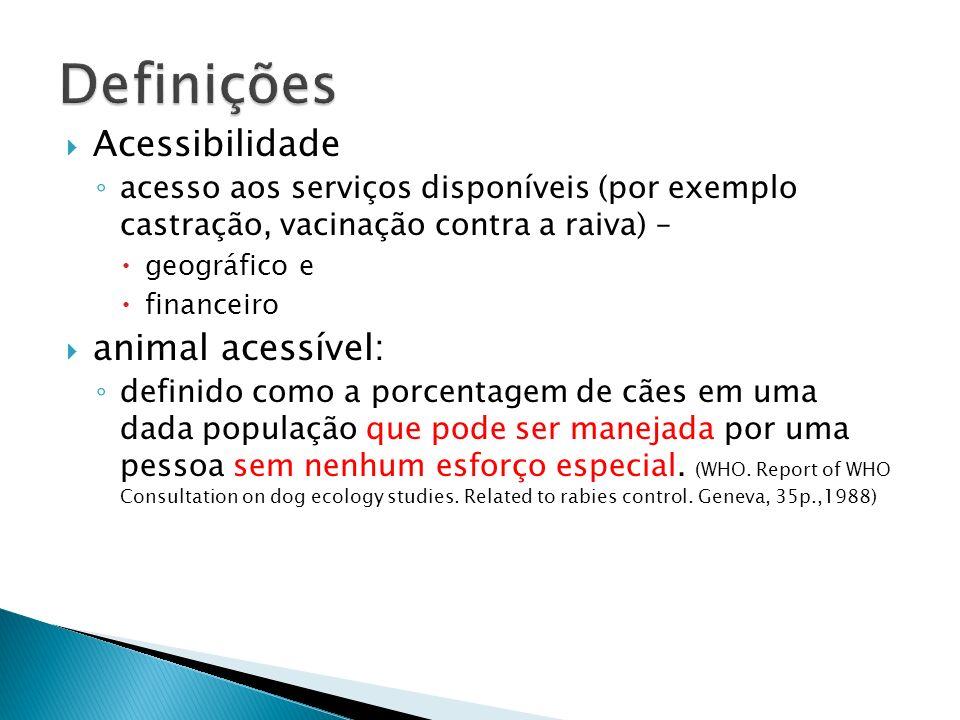 animal acessível: analises de custo beneficio de ações saúde para o equilíbrio populacional e controle de doenças (CVCR, por exemplo) não podem ser feitas sem informações reais sobre a distribuição da população de cães e de sua acessibilidade.