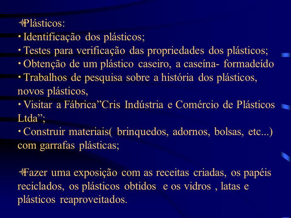Plásticos: Identificação dos plásticos; Testes para verificação das propriedades dos plásticos; Obtenção de um plástico caseiro, a caseína- formadeído Trabalhos de pesquisa sobre a história dos plásticos, novos plásticos, Visitar a FábricaCris Indústria e Comércio de Plásticos Ltda; Construir materiais( brinquedos, adornos, bolsas, etc...) com garrafas plásticas; Fazer uma exposição com as receitas criadas, os papéis reciclados, os plásticos obtidos e os vidros, latas e plásticos reaproveitados.