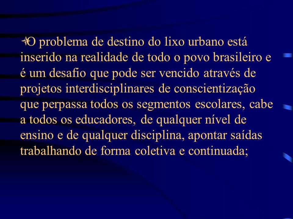 O problema de destino do lixo urbano está inserido na realidade de todo o povo brasileiro e é um desafio que pode ser vencido através de projetos interdisciplinares de conscientização que perpassa todos os segmentos escolares, cabe a todos os educadores, de qualquer nível de ensino e de qualquer disciplina, apontar saídas trabalhando de forma coletiva e continuada;