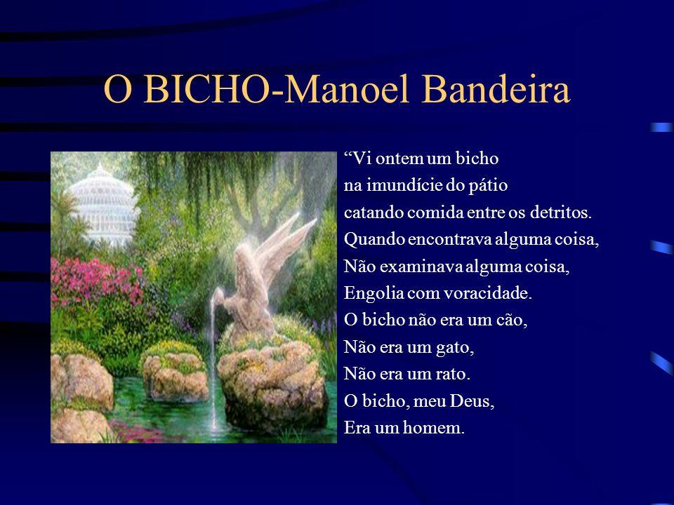 O BICHO-Manoel Bandeira Vi ontem um bicho na imundície do pátio catando comida entre os detritos.