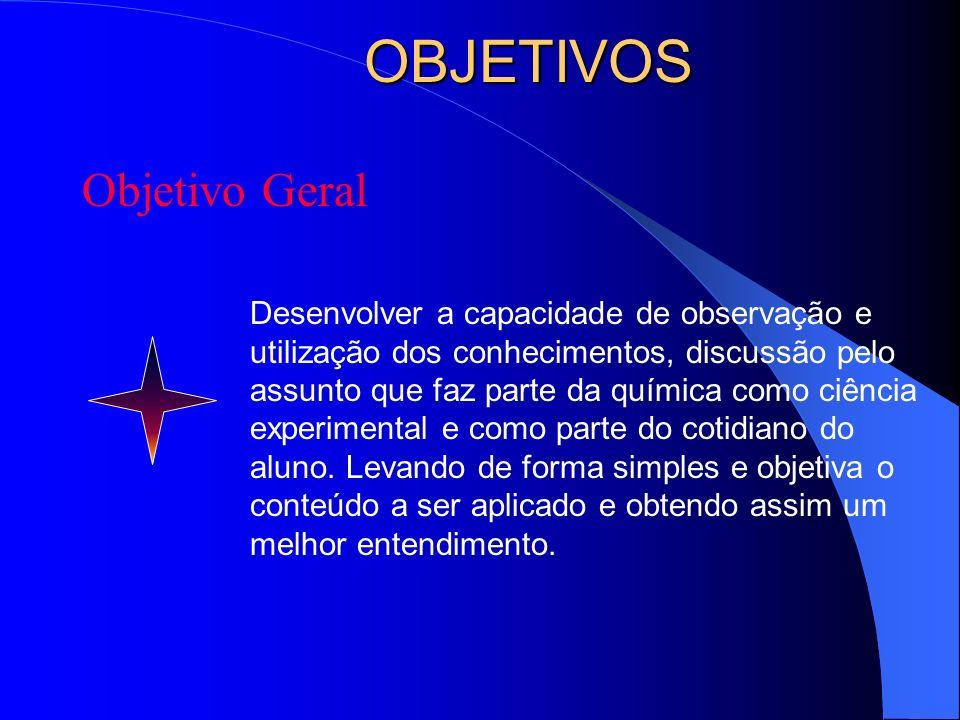 OBJETIVOS Objetivo Geral Desenvolver a capacidade de observação e utilização dos conhecimentos, discussão pelo assunto que faz parte da química como c