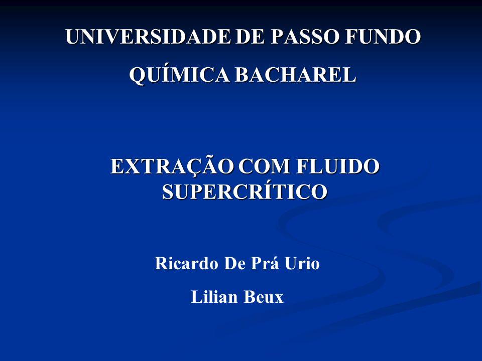 UNIVERSIDADE DE PASSO FUNDO QUÍMICA BACHAREL EXTRAÇÃO COM FLUIDO SUPERCRÍTICO Ricardo De Prá Urio Lilian Beux