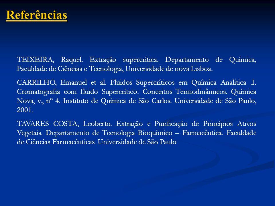 Referências TEIXEIRA, Raquel. Extração supercrítica. Departamento de Química, Faculdade de Ciências e Tecnologia, Universidade de nova Lisboa. CARRILH