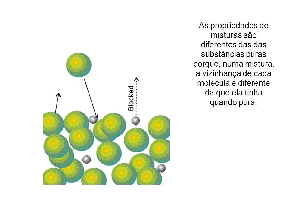 As propriedades de misturas são diferentes das das substâncias puras porque, numa mistura, a vizinhança de cada molécula é diferente da que ela tinha quando pura.