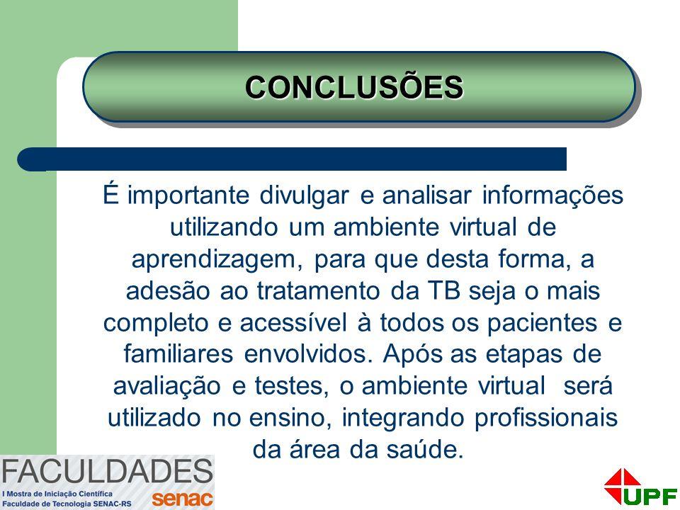 É importante divulgar e analisar informações utilizando um ambiente virtual de aprendizagem, para que desta forma, a adesão ao tratamento da TB seja o