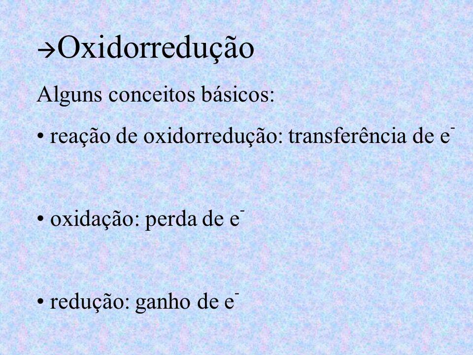 Oxidorredução Alguns conceitos básicos: reação de oxidorredução: transferência de e - oxidação: perda de e - redução: ganho de e -