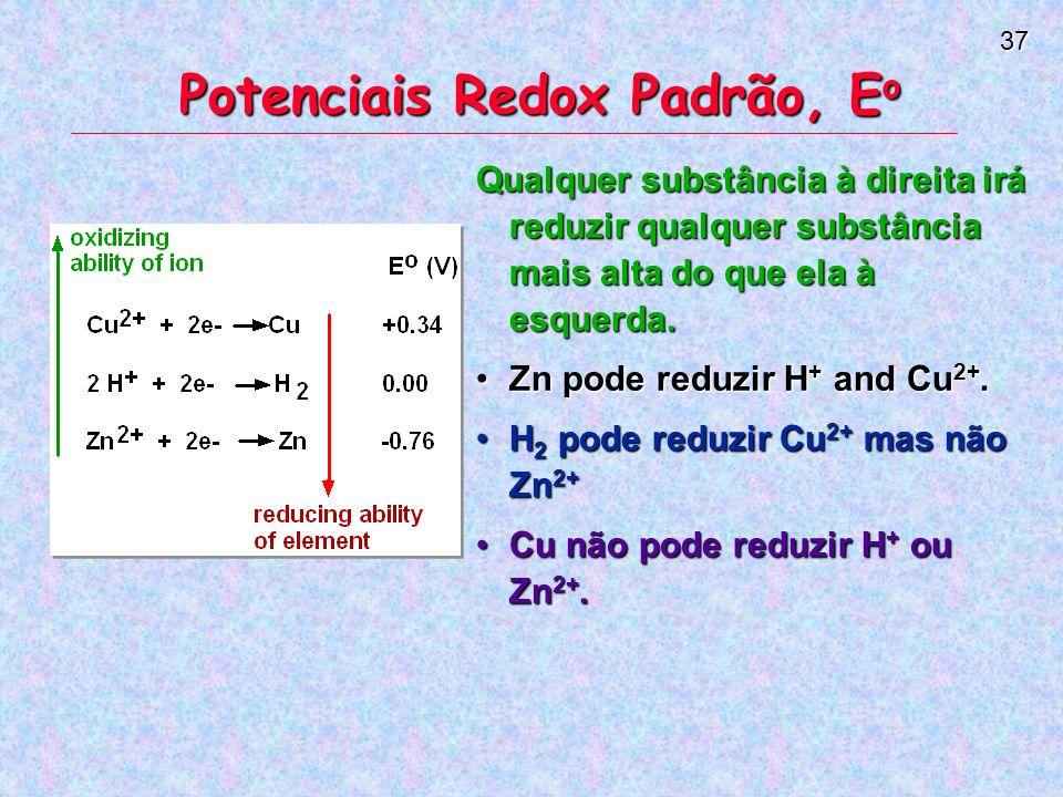 37 Potenciais Redox Padrão, E o Qualquer substância à direita irá reduzir qualquer substância mais alta do que ela à esquerda.