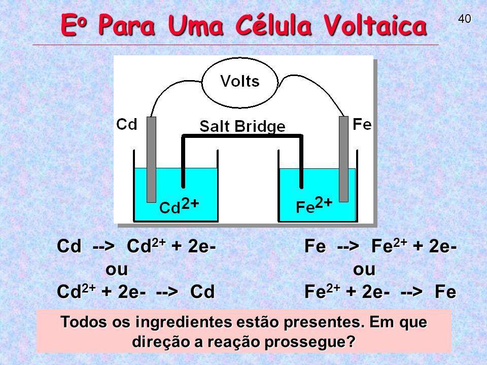 40 Cd --> Cd 2+ + 2e- ou Cd 2+ + 2e- --> Cd Fe --> Fe 2+ + 2e- ou Fe 2+ + 2e- --> Fe E o Para Uma Célula Voltaica Todos os ingredientes estão presentes.