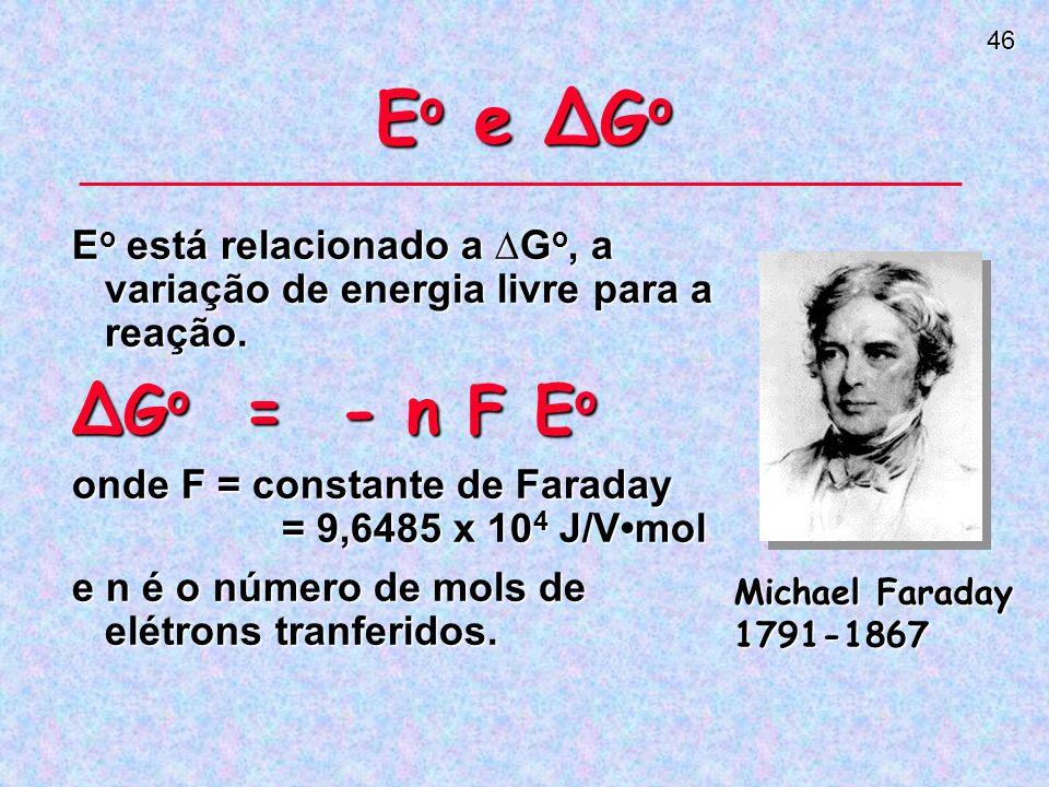 46 E o e G o E o está relacionado a G o, a variação de energia livre para a reação.