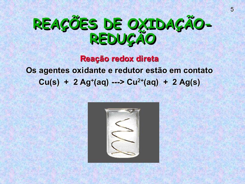 5 REAÇÕES DE OXIDAÇÃO- REDUÇÃO Reação redox direta Os agentes oxidante e redutor estão em contato Cu(s) + 2 Ag + (aq) ---> Cu 2+ (aq) + 2 Ag(s)