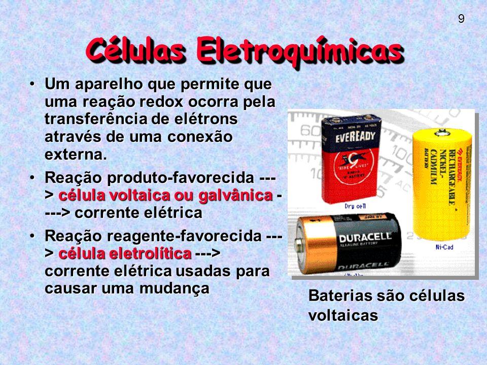 9 Células Eletroquímicas Um aparelho que permite que uma reação redox ocorra pela transferência de elétrons através de uma conexão externa.Um aparelho que permite que uma reação redox ocorra pela transferência de elétrons através de uma conexão externa.