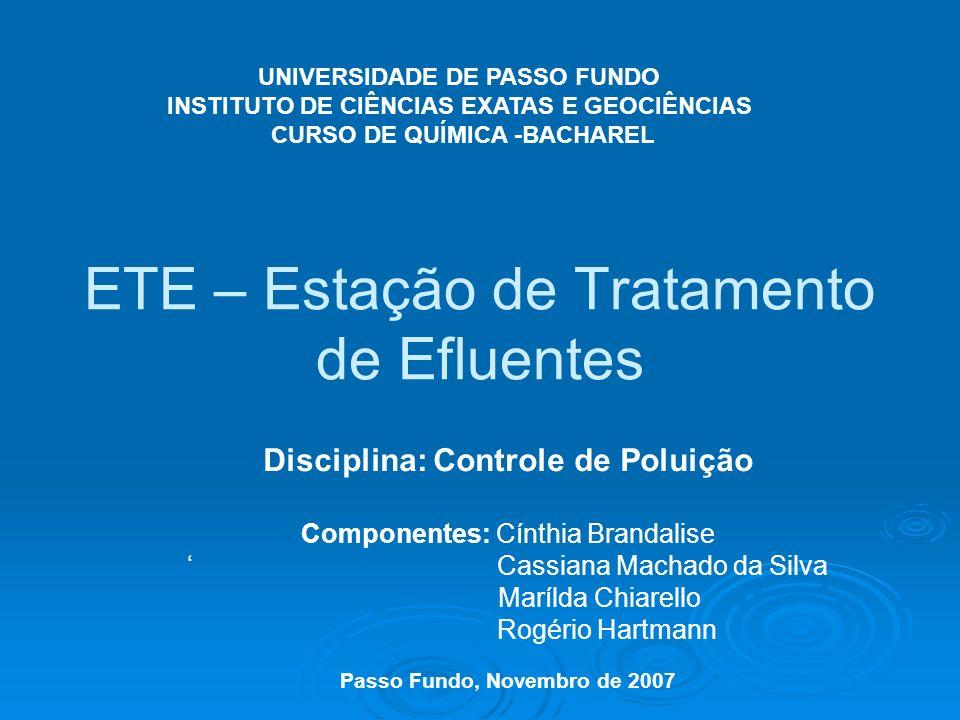 ETE – Estação de Tratamento de Efluentes Disciplina: Controle de Poluição Componentes: Cínthia Brandalise Cassiana Machado da Silva Marílda Chiarello